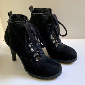"Ladies Black pump booties size7 lace up 4""heals"
